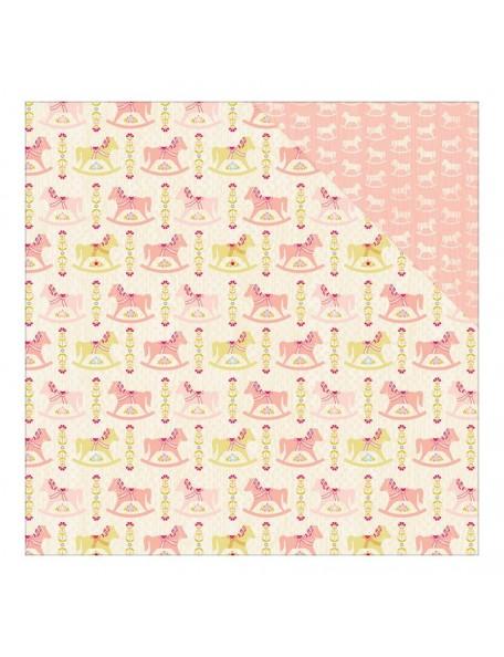 "Authentique Cuddle Girl Cardstock de doble cara 12""X12"" , no. 2 Multi Rocking Horse/Mini Horse Pink"