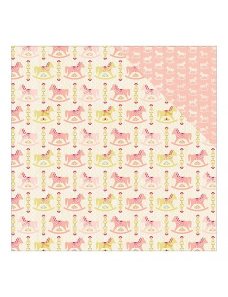 "Authentique Cuddle Girl Cardstock de doble cara 12""X12"" , no. 2 Multi Rocking Horse/Mini Horse Pink"