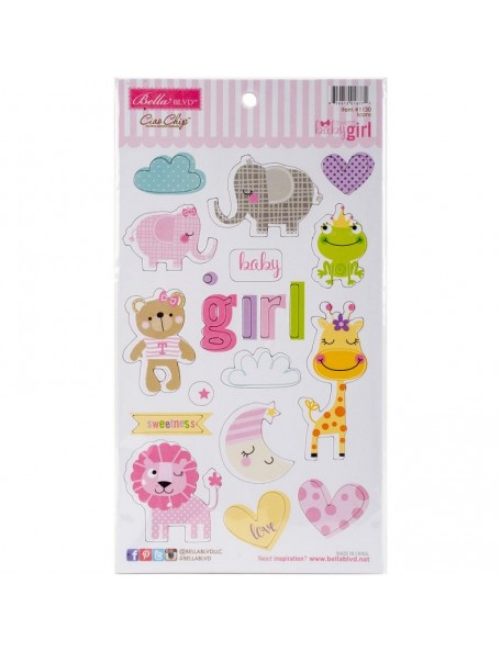 Bella BLVD Sweet Baby Girl Chipboard IconsPegatinas