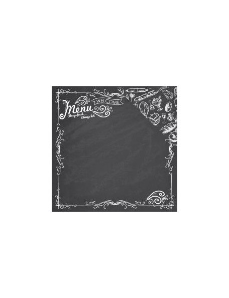 "Reminisce - In The Kitchen Cardstock de doble cara 12""X12"", The Menu"