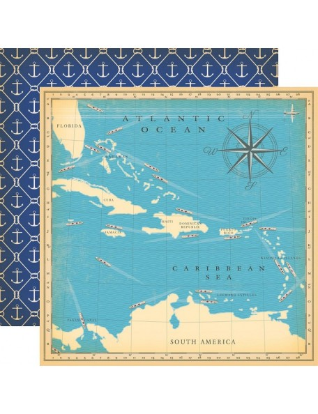 "Carta Bella Let's Cruise Cardstock de doble cara 12""X12"" Atlantic Ocean"