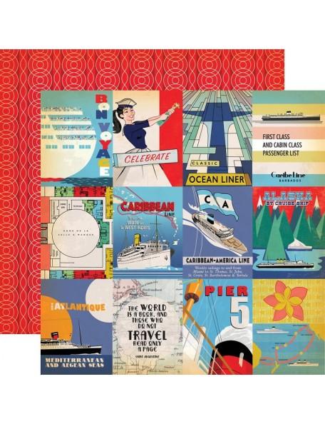 "Carta Bella Let's Cruise Cardstock de doble cara 12""X12"", 3x4 Journaling Cards"