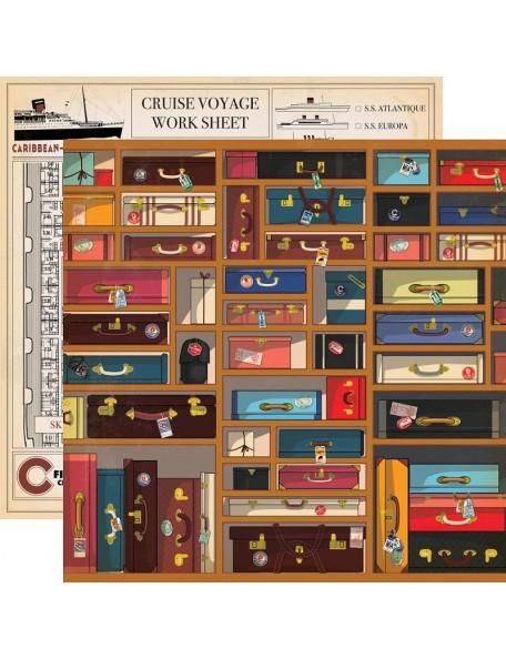 "Carta Bella Let's Cruise Cardstock de doble cara 12""X12"", Baggage"