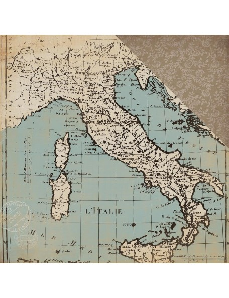 "Carta Bella Old World Travel Cardstock de doble cara 12""X12"", Old World Map"